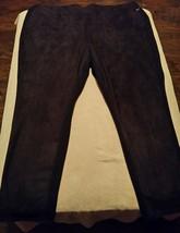 Lane Bryant Women's Black Velour Front Ponte Knit Slim Leg Pants Trousers Sz 26 - $20.00