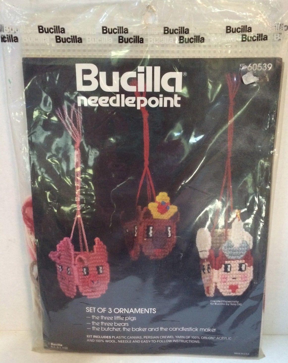 Bucilla Needlepoint Ornaments Kit  3 Pigs, 3 Bears, & More