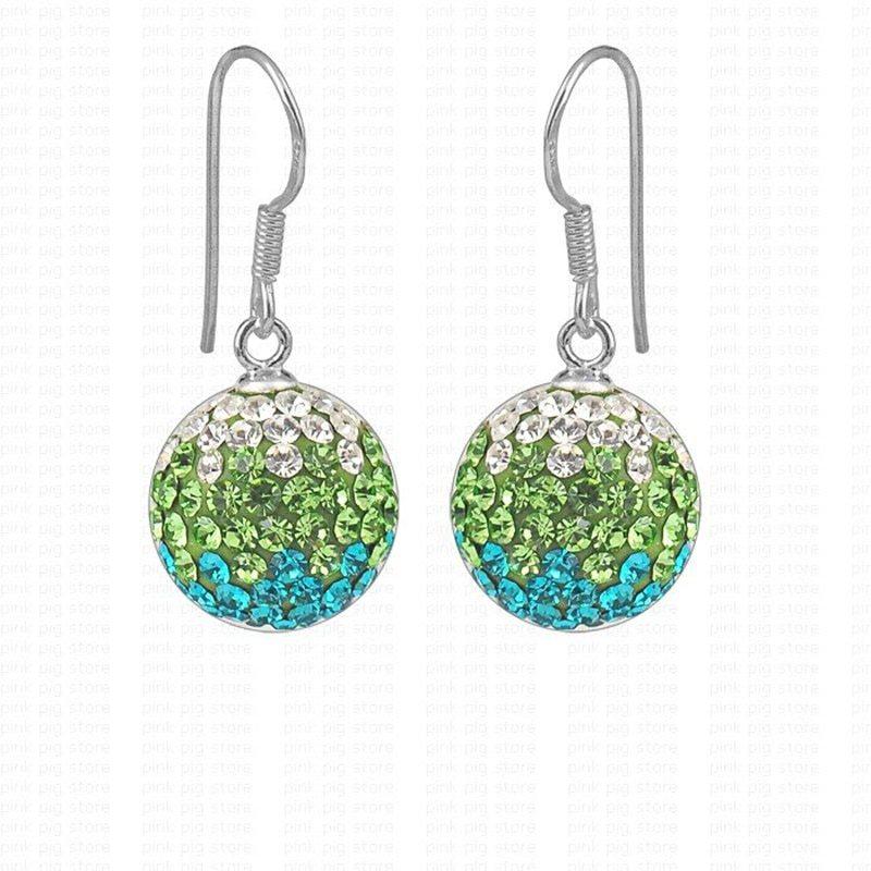 12mm green 925 Sterling Silver hook full cz rhinestones pendant silver earring R - $7.91