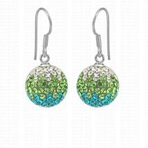 12mm green 925 Sterling Silver hook full cz rhinestones pendant silver e... - $7.91