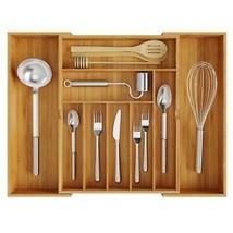 Expandable Cutlery Organizer Flatware Bamboo Drawer Kitchen Storage Uten... - $24.69