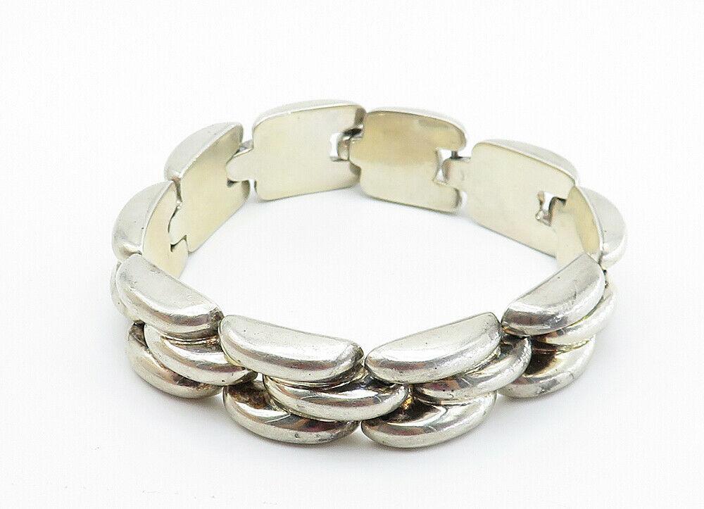 BAYANIHAN 925 Silver - Vintage Brick Layer Style Link Chain Bracelet - B6018