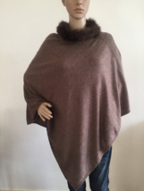 Pure Cashmere Poncho with Fox Fur Collar - RRP GBP 260! Now only GBP 99!!! - $129.70