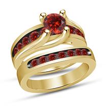 Womens Red Garnet Yellow Gold Finish 925 Sterling Silver Bridal Wedding ... - $98.99