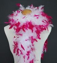 "45g 52""long White w/ Fuschia tips chandelle feather boa diva night, dres... - $6.70"