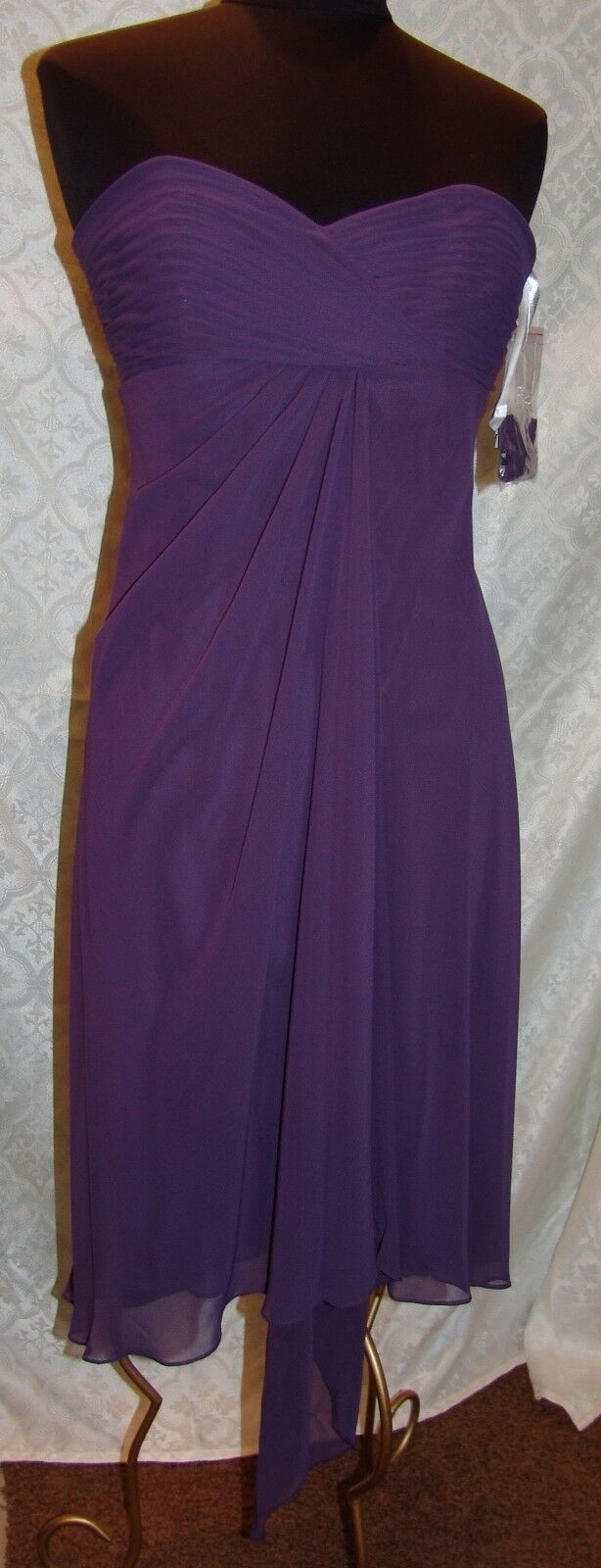 Primary image for Davids Bridal NWT Sleeveless Chiffon Ruched Dress 8 Lapis Purple Prom Formal
