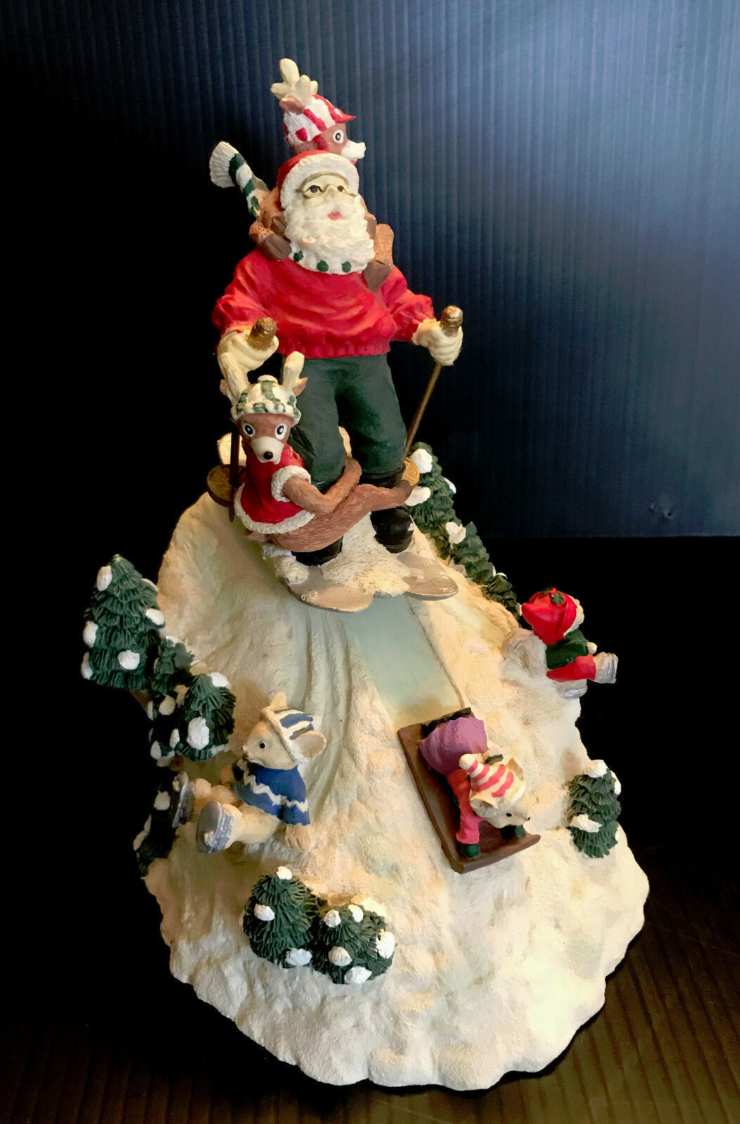 Primary image for Vintage Windup Skiing Santa Music Christmas Tabletop Decor
