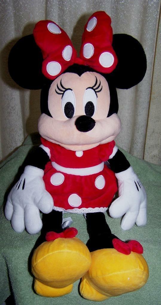 "Disney Jr Minnie Mouse in Red Polka Dot Dress 19"" Plush NWT"