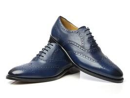 Handmade Men's Navy Blue Wing Tip Heart Medallion Dress Leather Oxford Shoes image 1