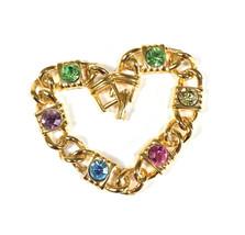 Vintage Rhinestone Bracelet, Pastel Colors, 1970's Link Bracelet, Gold T... - $18.00