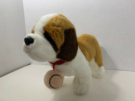Russ Berrie plush Saint St Bernard puppy dog red collar barrel brown tan... - $9.94