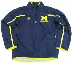 adidas Michigan Wolverines Boy's Navy 1/4 Zip Sideline Hot Jacket sz Youth XL - $19.75