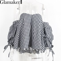 Glamaker Sexy plaid off shoulder blouse shirt Spring striped backless wo... - $22.00