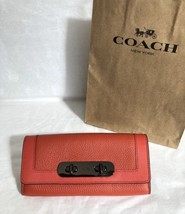 NWT Coach Swagger Slim Leather Envelope Wallet 54062 Deep Coral Orange Red $225 - $129.95