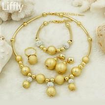 2019 African Bead Jewelry Sets Gold Classic Wedding  Necklace Bracelet Nigeria W - $42.98