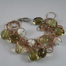.925 RHODIUM ROSE GOLD PLATED SILVER  BRACELET WITH WHITE AGATE AND SMOKY QUARTZ image 1