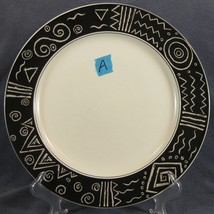 Mikasa Star Track CP006 Dinner Plate Black Band White Geometrics Footer Has Chip - $19.95