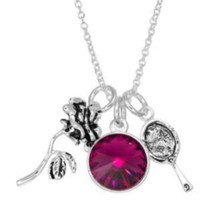 DISNEY BEAUTY & THE BEAST ROSE/PURPLE CRYSTAL/MIRROR CHARM NECKLACE~NEW!... - $32.99