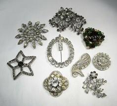 Lot of Vintage Rhinestone Jewelry Brooches C2828 - $28.93