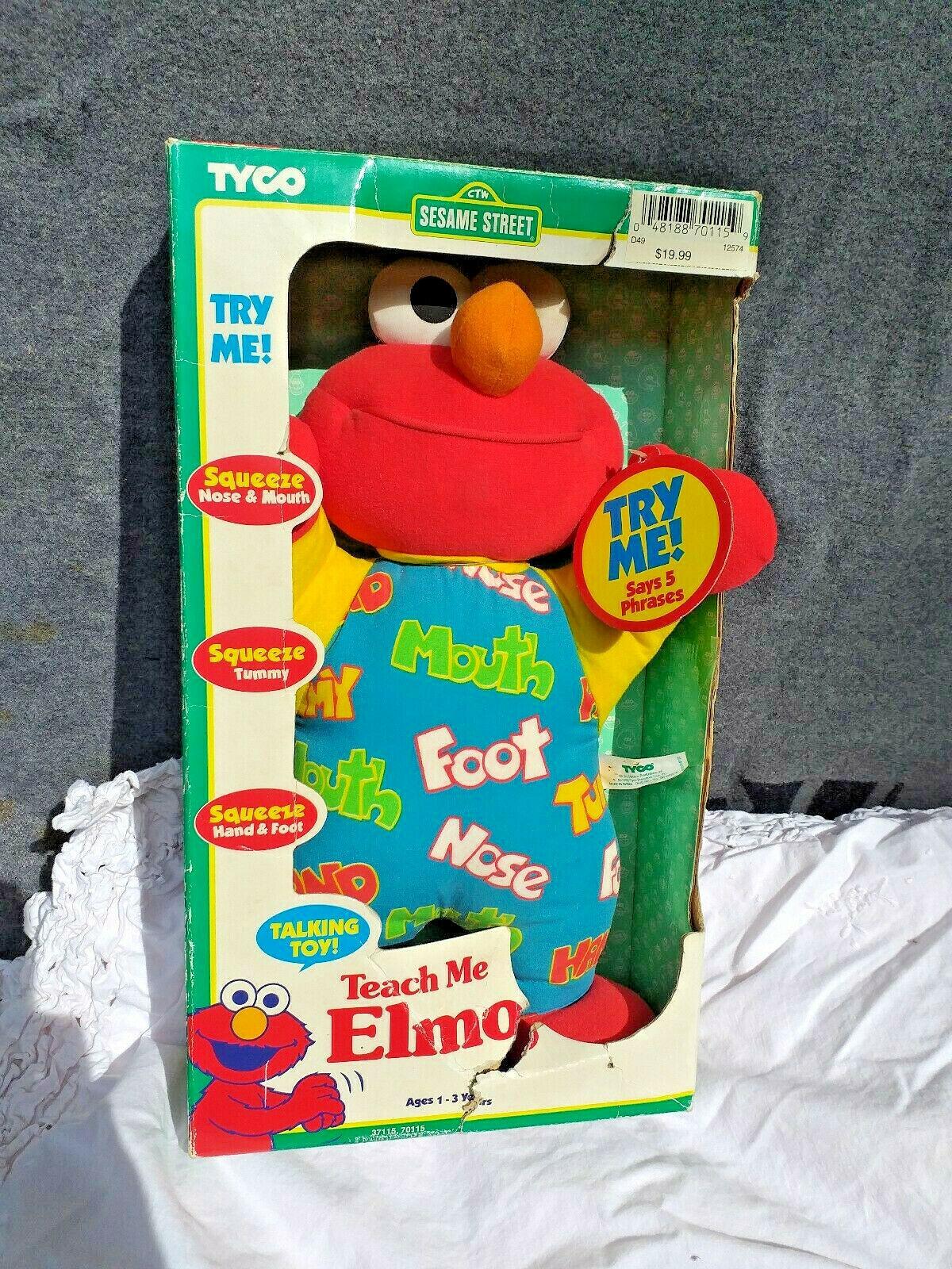 New Box Vintage Teach Me Elmo Original 90's 1996 Tyco Plush Doll Sesame Street
