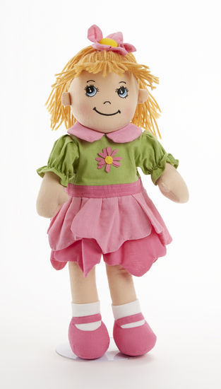 Image 1 of Sweet Delton Apple Dumplin Petal Cloth Doll in Pink & Green Dress, 14