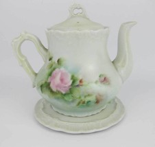 Vintage Bavarian Hand Painted Tea Pot With Round Under Plate Pink Roses   - $23.00