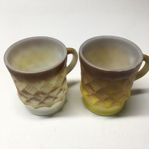 VTG Anchor Hocking Fire King Cup Mug Kimberly Diamond Brown Yellow Lot Of 2 - $29.69