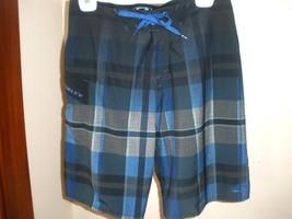 Oakley Ola Vista Boardshorts Sz 30 BLUE/BLACK Plaid Nice! - $27.71