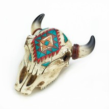 *18473B  Aztec Design Ox Skull Jewelry Trinket Box - $14.95
