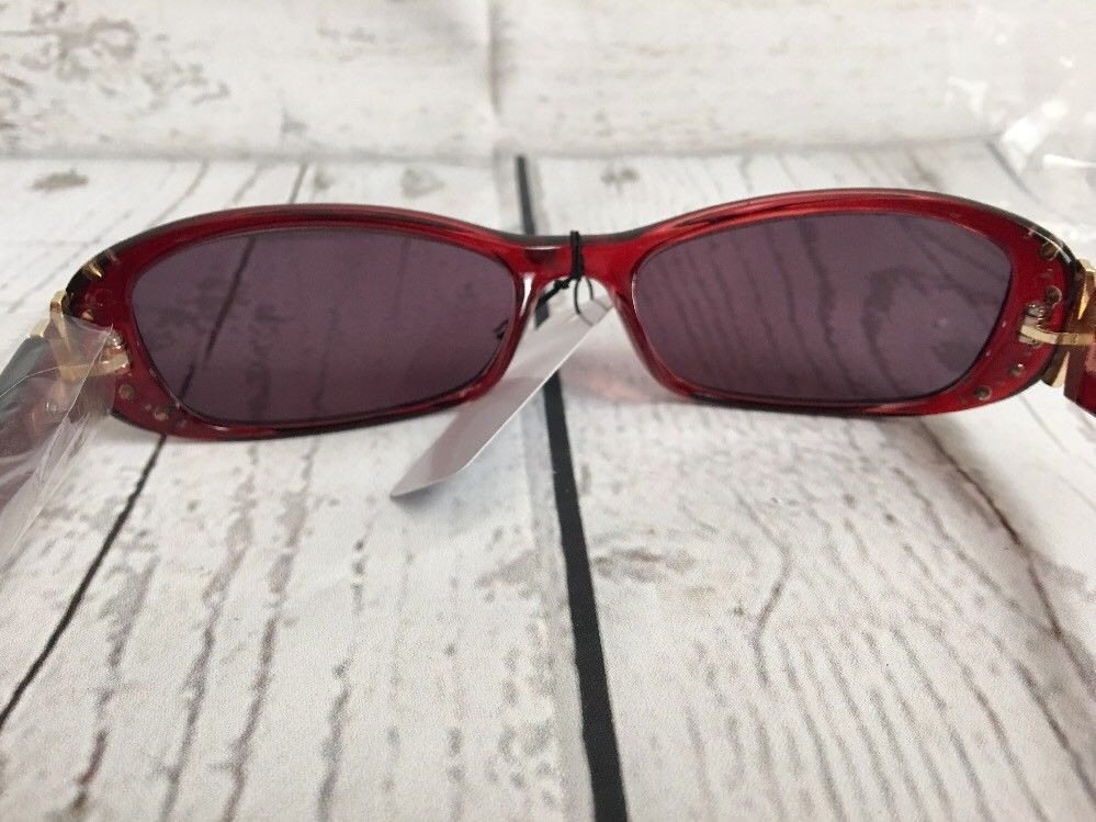 Solara Rx-Able Full Reading Sunglasses No Bifocal with Crystals Red/Smoke +2.25