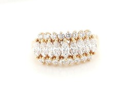 14k Yellow Gold Women's Cocktail Ring With cz Stones - $279.57
