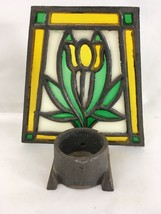 Vintage Wrought Cast Iron Stain Glass Votive Candle Holder image 2
