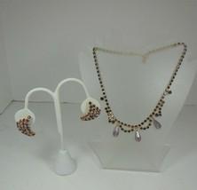Vintage Purple & Lavender Rhinestone Necklace Choker & Clip on Earrings - $27.71