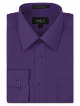 Omega Italy Men's Button Up Long Sleeve Solid Purple Dress Shirt w/ Defect - L