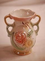 Vintage Double Loop Handled Floral Vase Lusterware Brasil Stamped 421 - $12.86