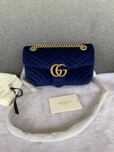 NEW Authentic GUCCI MARMONT MEDIUM ROYAL BLUE VELVET FLAP BAG