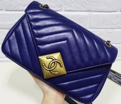 100% Authentic Chanel Royal Blue Lambskin Chevron Quilted Pyramid CC Flap Bag image 9