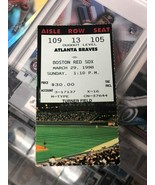 Boston Red Sox vs Atlanta Braves (3-29-1998) Baseball Ticket Stub - $2.97