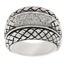 Scott Kay 925 Sterling Silver Diamonds Basket Weave Ring Size 6.75 »U47 - $371.54