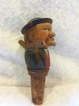 Novelty Antique ANRI Hand Carved Wood Yakker Mechanical Cork Bottle Stopper - $28.04