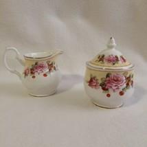 Grace Teaware Creamer & Sugar Bowl Lid Roses Strawberries Yellow Band Gold Trim - $25.00