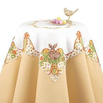 Easter Bunny and Eggs Table Linen with Embroidered Edges and White Base ... - $37.08