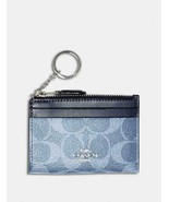 NWT COACH Mini Skinny ID Case Card Coin Key Canvas Wallet Light Denim Blue - $44.55