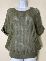 Chico's Womens Size 1 Green Heavy Knit Blouse Short Sleeve Rolled Cuff - $19.80