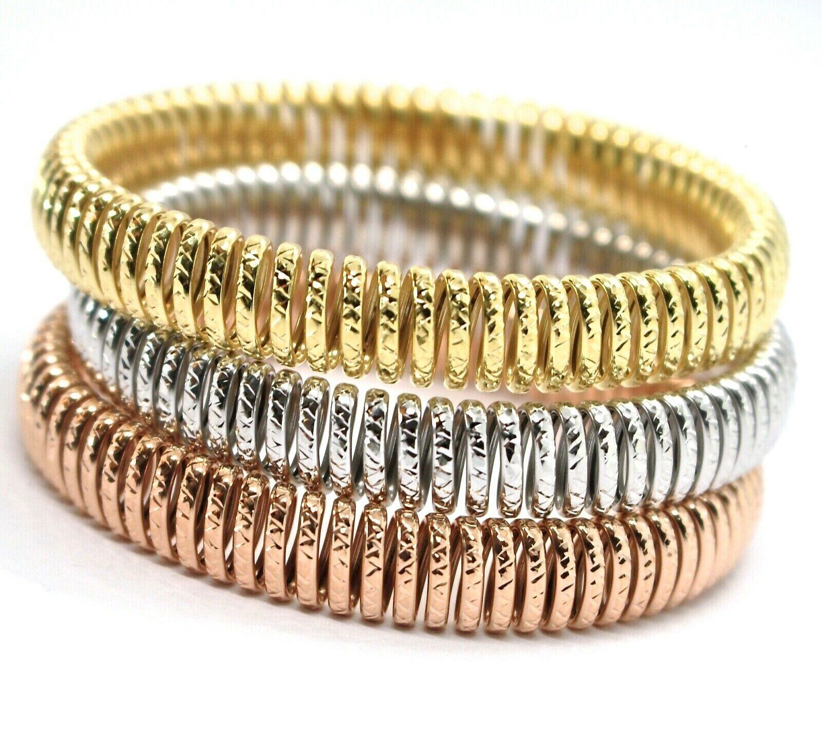 GOLD BRACELET 750 18K, YELLOW 0,5 WHITE 0,5 PINK, SEMI-RIGID, MILLED, ELASTIC