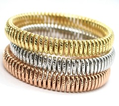GOLD BRACELET 750 18K, YELLOW 0,5 WHITE 0,5 PINK, SEMI-RIGID, MILLED, EL... - $2,913.58+