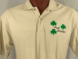 Izod Irish Grandpa St. Patrick's Shamrock Beige Polo Shirt 100% Cotton L... - $17.50