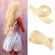 Valiilo 14 Inch Human Hair Extensions Tape in Remy Blonde Skin Weft Straight Rem