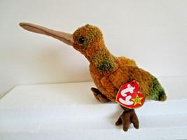 TY Beanie Babies BEAK gold green HUMMINGBIRD bird PLUSH TOY  1998 - $5.54