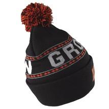 Organika Grow with Us Head Up Black Grey Orange Pom Knit Beanie Skull Cap Hat image 2